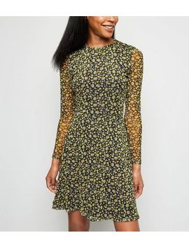 Black Ditsy Floral Mesh Skater Dress by New Look