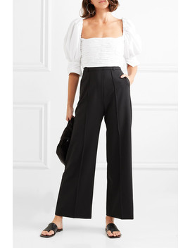 Puff Cropped Ruched Cotton Poplin Top by Georgia Alice