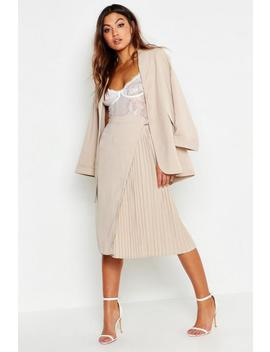 Woven Pleated D Ring Belted Midi Skirt by Boohoo