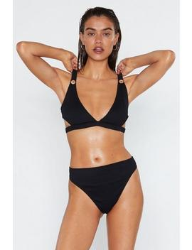 I'm Button My Way Ribbed Bikini Set by Nasty Gal