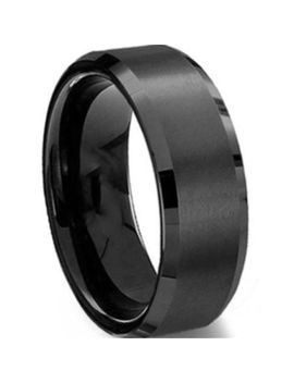 8 Mm Stainless Steel Ring Band Titanium Black Men's Sz 6 To 12 Wedding Rings by Dou Vei