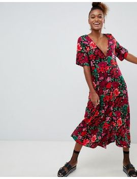 Monki Short Sleeve Button Through Flower Print Midi Dress by Monki