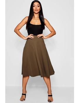 Pocket Front Crepe Skater Midi Skirt by Boohoo