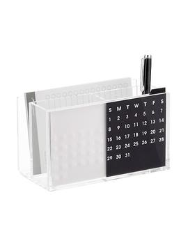 Three By Three Acrylic Desktop Organizer & Perpetual Calendar by Three Acrylic Desktop Organizer & Perpetual Calendar
