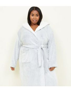 Curves Pale Grey Borg Trim Dressing Gown by New Look
