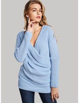 Surplice Front Drop Shoulder Sweater by Sheinside