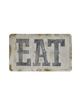 """Creative Co Op 32 3/4""""L Embossed Metal Wall Décor, Eat, Distressed 43 Signs Anything W A Saying Or Number, White by Creative Co Op"""