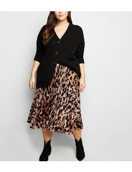Curves Brown Leopard Print Pleated Satin Midi Skirt by New Look