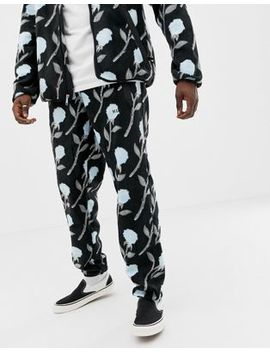 Huf Farewell Floral Fleece Joggers In Black by Huf