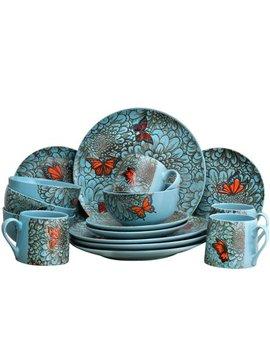 Elama's Butterfly Garden 16 Piece Stoneware Dinnerware Set by Elama
