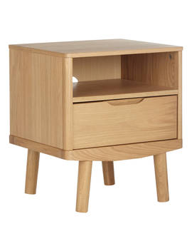 House By John Lewis Bow 1 Drawer Bedside Table, Oak by House By John Lewis