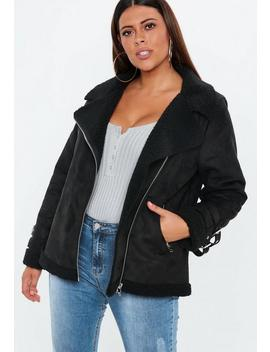 Plus Size Black Borg Lined Teddy Aviator Jacket by Missguided