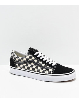Vans Old Skool Blur Black & White Checkerboard Skate Shoes by Vans