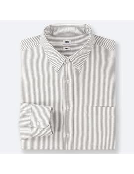 Men Slim Fit Striped Oxford Shirt (Button Down Collar) by Uniqlo