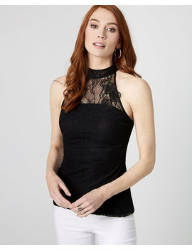 Lace Illusion Mock Neck Top by Le Chateau