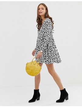 Asos Design Smock Mini Dress With Button Through In Splodge Print by Asos Design