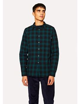 Men's Tailored Fit Petrol Blue Check Cotton Shirt by Paul Smith