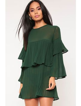 Emerald Green Pleated Sheer Smock Dress by I Saw It First