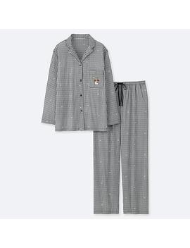 Damen LangÄrmliger Soft Stretch Pyjama Sanrio Characters Mit Karomuster by Uniqlo
