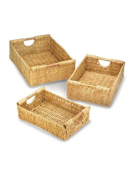 Wicker Organizer Baskets, Woven Baskets For Storage, Made Of Straw (Set Of 3) by Accent Plus