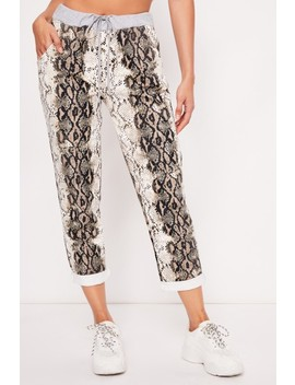 Sally Beige Snake Jogging Bottoms by Misspap