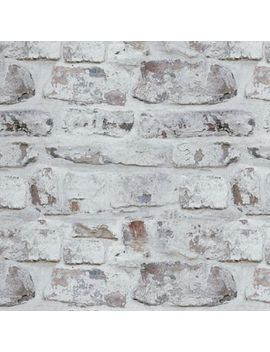 V.I.P Whitewashed Brick Wallpaper In White by Bed Bath And Beyond
