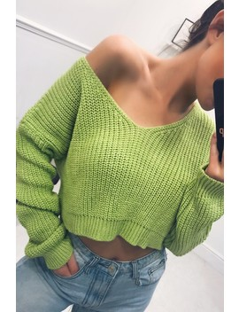 Penny Lime Green Off Shoulder Knitted Cropped Jumper by Misspap