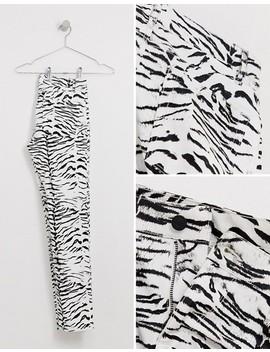 Asos Design Skinny Jeans In Leather Look Zebra Print by Asos Design