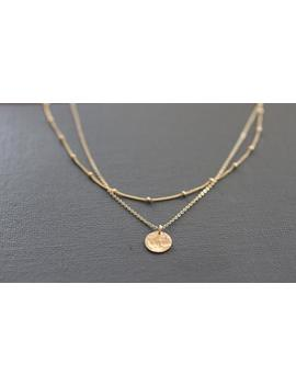 Delicate Necklace, Dainty Gold Necklace, Layered Necklace, Dainty Necklace, Sterling Silver, Hammered Disc, Pounded Metal, Satellite by Etsy