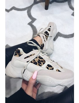 Olivia Beige Leopard Chunky Trainers by Misspap