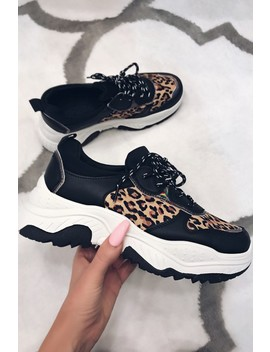 Coco Black Leopard Chunky Trainers by Misspap