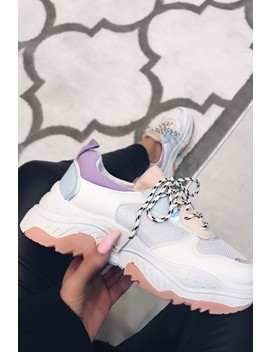 Poppy Beige Holographic Detail Chunky Trainers by Misspap