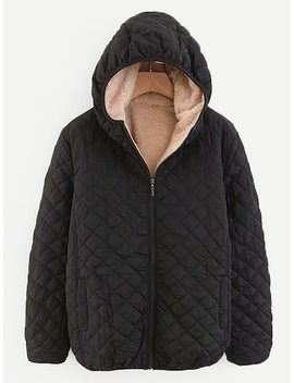 Shearling Lined Quilted Hooded Jacket by Sheinside