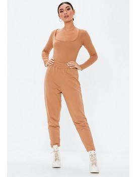 Camel Ribbed Scoop Front Bodysuit by Missguided