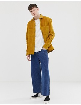 Asos Design Cold Overshirt In Mustard With Tortoise Shell Buttons by Asos Design