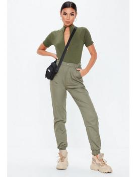 Khaki High Neck Zip Front Bodysuit by Missguided