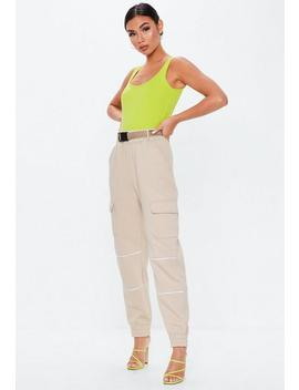 Neon Lime Square Neck Bodysuit by Missguided