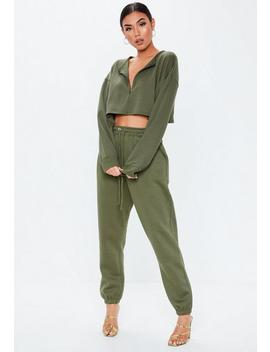 Khaki Zip Inserted Sweatshirt by Missguided