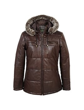 Nina: Women's Brown Hooded Leather Jacket by Hidepark