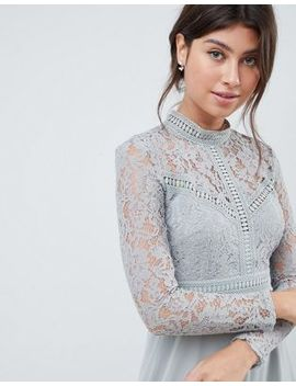Little Mistress Lace Top Full Midi Prom Dress by Little Mistress