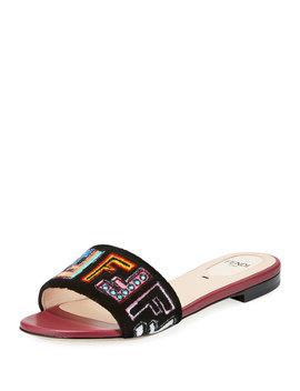 Ff Velvet Embroidered Slide Sandal, Black by Neiman Marcus