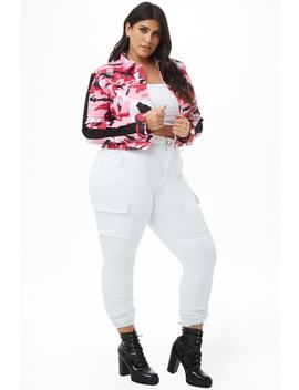 Plus Size Denim Cargo Joggers by Forever 21