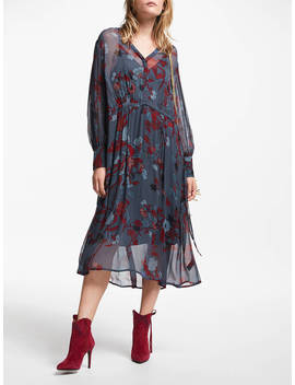 And/Or Megan Forest Floral Midi Dress, Red/Blue by And/Or