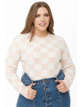 Plus Size Checkered Sweater by Forever 21