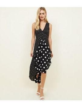 Ax Paris Black Spot Print Frill Midi Dress by New Look