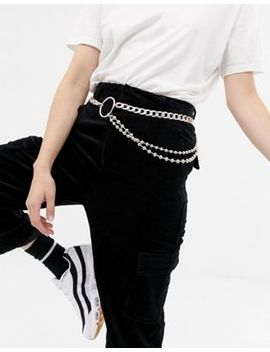 Asos Design Chain & Ball Detail Waist And Hip Belt by Asos Design