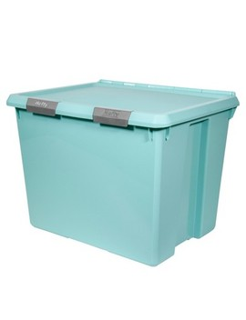Hefty Hinged Lid Storage Box Jade Opaque 70qt by Hefty