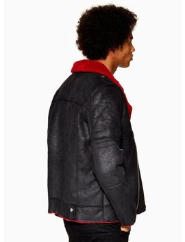 Faux Red Shearling Biker Jacket by Topman