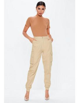 Camel Ribbed High Neck Zip Front Bodysuit by Missguided