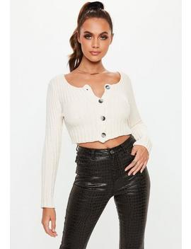 Cream Chenille Button Cropped Cardigan by Missguided